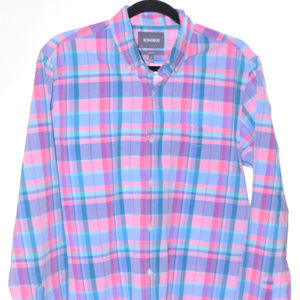 Bonobos Medium Teal Green Pink Purple Plaid Shirt
